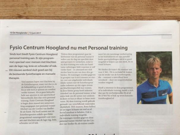 Fysio centrum Hoogland nu met Personal Training